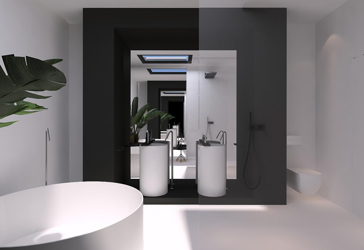 010 mono projektant wnętrz śląsk katowice gliwice nowoczesna łazienka minimalistyczna