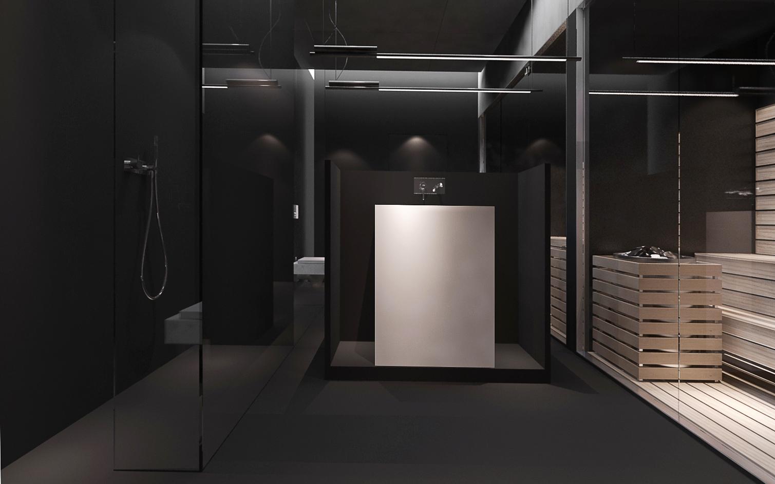 020 mono architekt wnętrz śląsk katowice gliwice nowoczesna łazienka sauna minimalistyczna