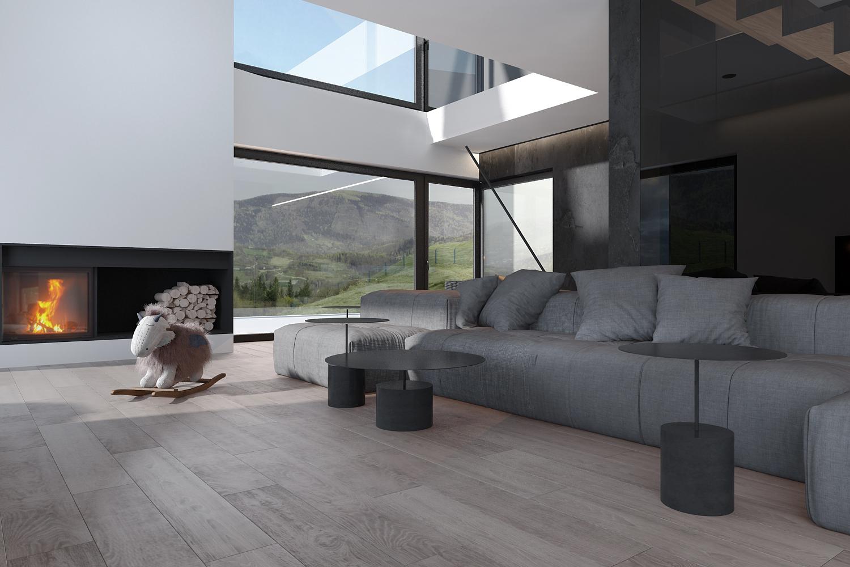 mono projektowanie wnetrz katowice krakow slask nowoczesny salon z antresola minimalizm