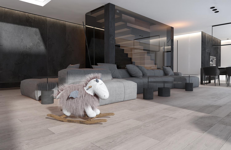 mono projektowanie wnetrz katowice krakow slask nowoczesny salon schody dywanowe minimalizm