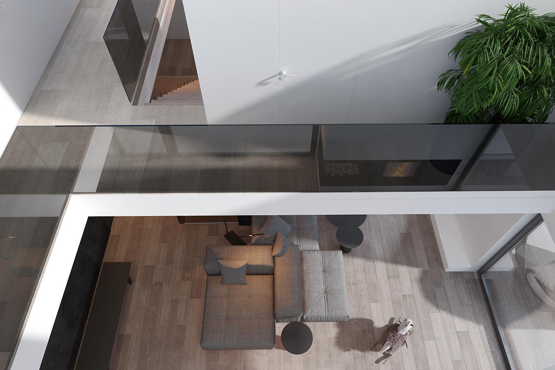 mono projekty wnetrz katowice krakow slask nowoczesny salon z antresola minimalizm